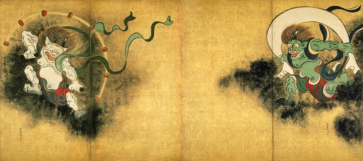 Fujin Raijin-zu Byobu (Japanese god of the wind and thunder) by OGATA Korin (1658~1716)