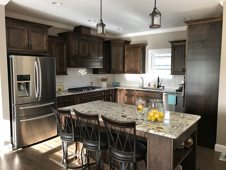 Dark Walnut stained cabinets, Alaska White Granite. White ... on Backsplash For Maple Cabinets And Black Granite  id=59475
