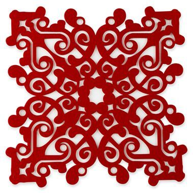 Snowflake Felt Placemats. Grrrrrr, doesn't give dimensions!  Set of 4, $5.99 on clearance at JCPenney's.  Comes in red or green.  Pretty.  -pinned Dec 22, 2013.