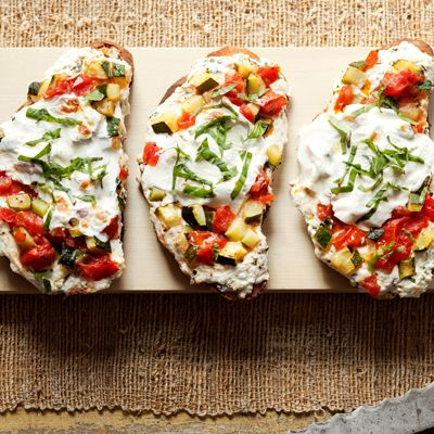 Lasagna Toasts Recipe -- For a quick lasagna dinner, try these lasagna toasts, made in your toaster oven. For a healthy upgrade, swap in wholegrain bread. #myplate #protein #vegetables