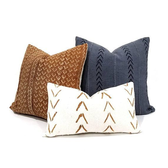 Mudcloth Pillow Cover Various Sizes Slate Grey Mudcloth Pillow Mudcloth Pillow Cover Afric Living Room Decor Rustic Mudcloth Pillow Pillow Combos