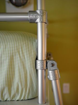 Galvanized piping was used as the construction material for the bunk beds.