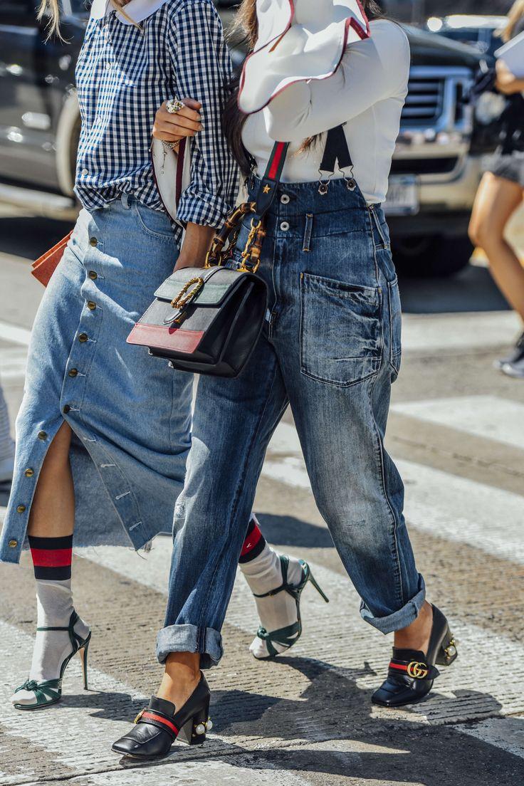 September 14, 2016 Tags Black, White, Blue, Jeans, Stripes, Gucci, Denim, Women, High Heels, Clutches, Bags, Skirts, Blouses, Rings, New York, Checkered, Socks, Snakeskin, Suspenders, Loafers, SS17 Women's