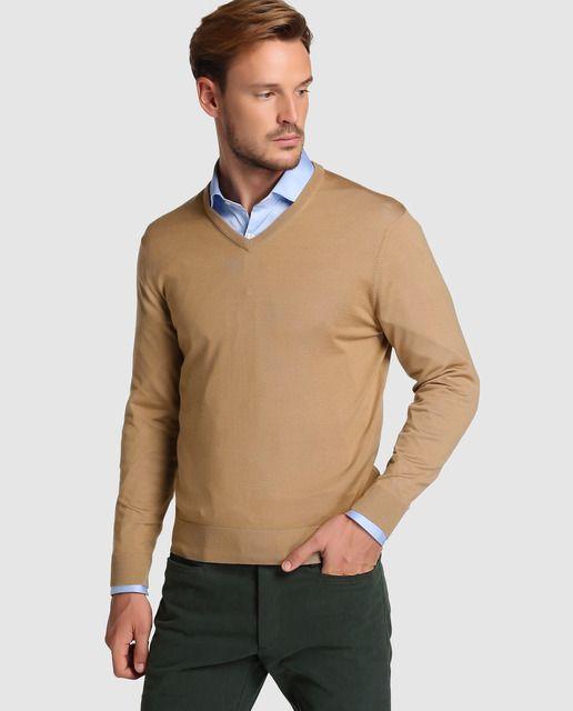 Jersey Emidio Tucci Colección Black marrón con el cuello de pico: 59,95€