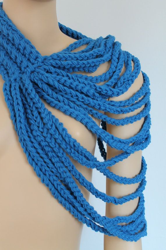 crochet blue loop chain scarf cowl scarf neck by levintovich