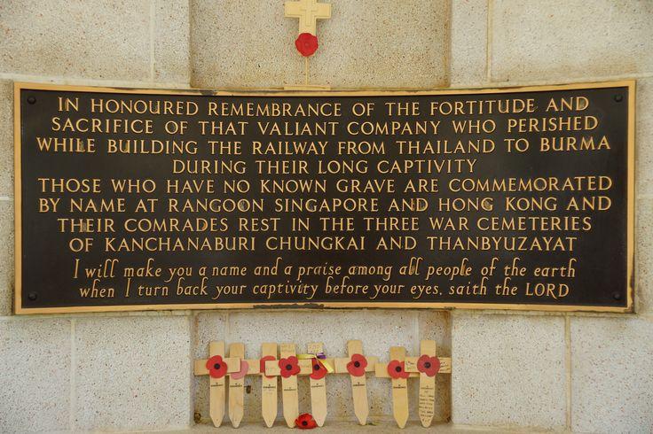 Plaque at the Kanchanaburi War Memorial cemetery.