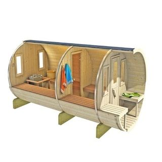 Allwood Nordic Spruce 8-person Barrel Sauna - 16696321 - Overstock - Great Deals on Saunas - Mobile