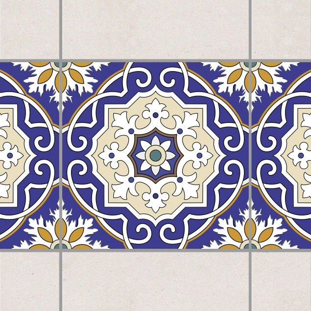 Fliesen Bordüre - Spanische Wandfliese 20cm x 20cm - Fliesenaufkleber Blau