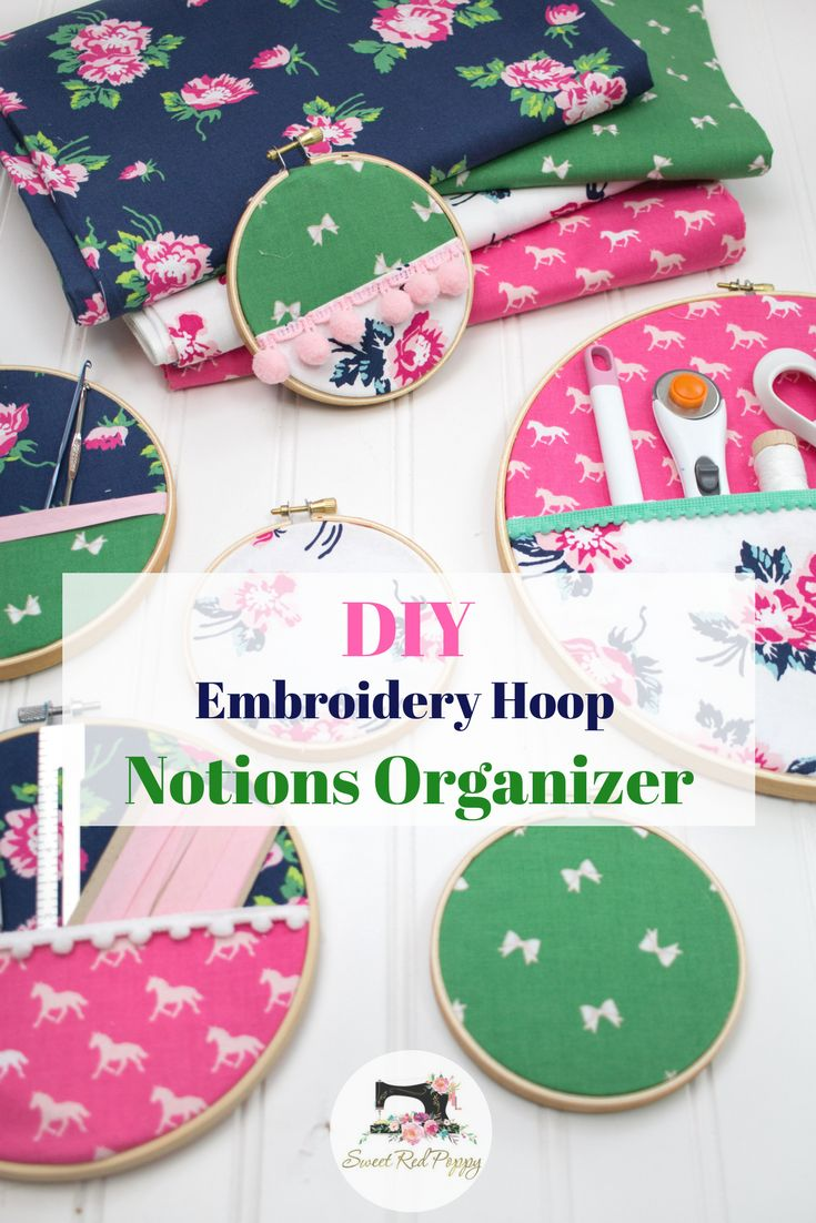 DIY Embroidery Hoop Hanging Wall Organizers -perfect for storing crochet hooks, knitting needles, etc