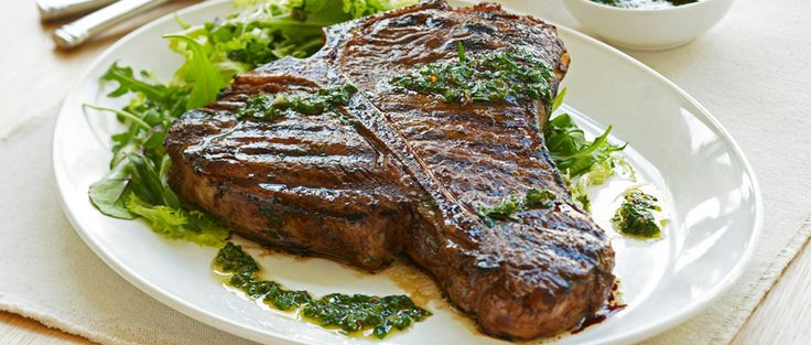 Curtis Stone | Grilled T-Bone Steaks with Chimichurri Sauce