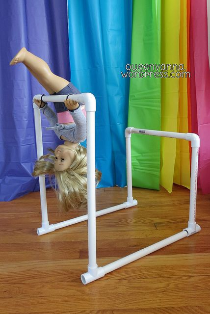 Uneven Gymnastics bars for American Girl Dolls. By Queenvanna Creations. http://queenvanna.wordpress.com/2013/03/17/american-girl-uneven-bars/#                                                                                                                                                      More