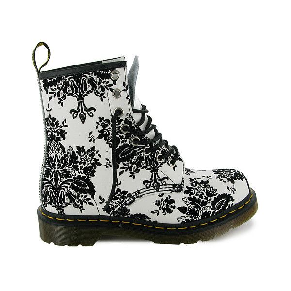 Y90 Ladies Dr Martens 1460 White Black Boots Sizes 5-8 UK | Dr Martens... ($71) ❤ liked on Polyvore featuring shoes, boots, ankle booties, zapatos, doc martens, black and white booties, dr. martens, dr martens boots, black white boots and white and black boots