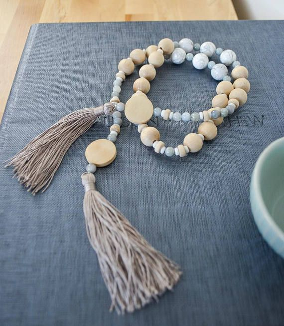 Intention Beads for the home.   Encourages focus and a positive mind.  Modern Wall Art: Home Mala Intention Beads