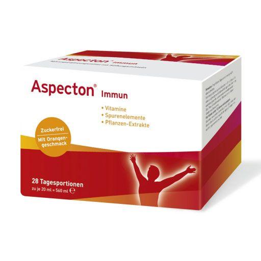 Aspecton® Immun unterstützt die Abwehrkräfte bei erhöhter Beanspruchung. Der flüssige, trinkfertige Vitalstoff - Mix ist aufgrund der praktischen Trinkampullen sofort einsatzbereit. Aspecton® Immun enthält Vitamine und Spurenelemente zur Unterstützung des körpereigenen Immunsystems.