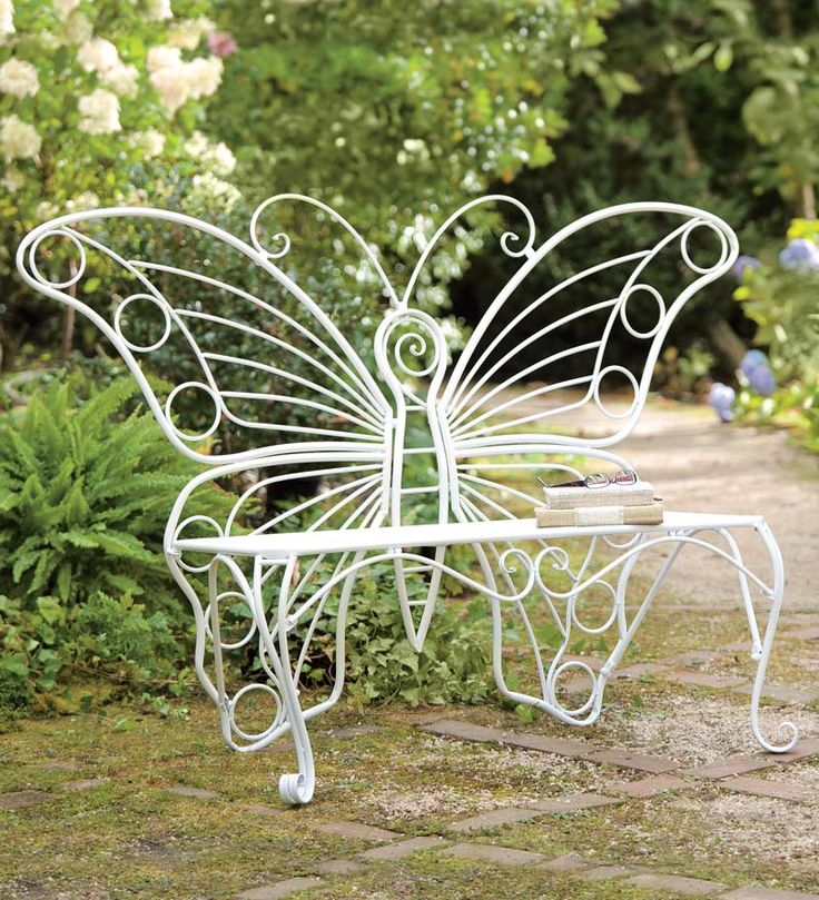 Weather Resistant White Metal Butterfly Garden Bench, From Plow And Hearth  119.95