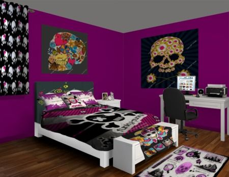 purple and black skull takeover bedroom design at http 18169 | 8f5bf2bf52065a325bb3878b6d928399