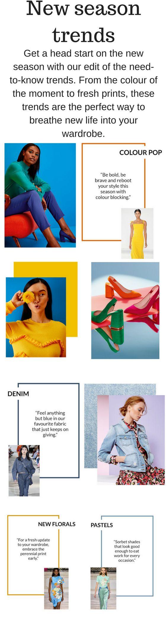 New Season Trends / Trending Fashion / Women's Fashion / Florals / Denim / Bold Colors / #Womensfashion #trendingnow #trending #stylechallenge #newarrivals #new