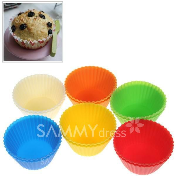 $3.46 12PCS Lovely Silicone Muffins Cup Cake Model with Different Colors