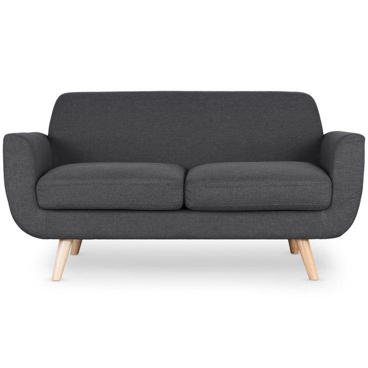 Sofa estilo escandinavo Danubio 2 plazas tela gris oscuro