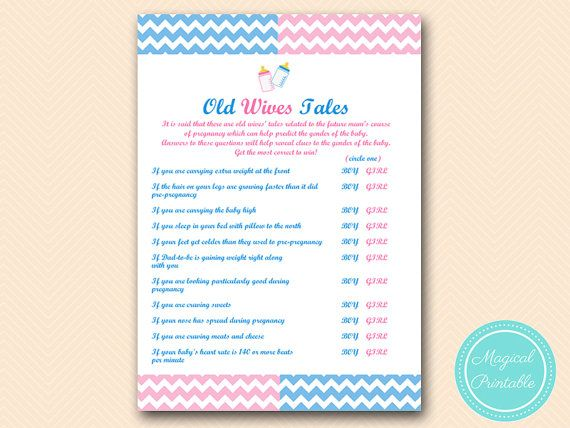 Old wives tales baby gender game Gender reveal by MagicalPrintable