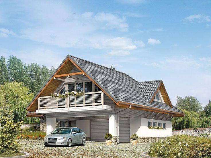 Dom letniskowy, parterowy z poddaszem użytkowym. Przestronny garaż daje możliwość parkowania dwóch samochodów lub samochodu i łodzi. Duże przeszklenie ściany sypialni prowadzące na zadaszony balkon zapewnią komfortowy wypoczynek w niepogodę. Kształt bryły budynku, użycie naturalnych materiałów i dobór detalu architektonicznego pozwolą na wkomponowanie domu w każdy krajobraz.
