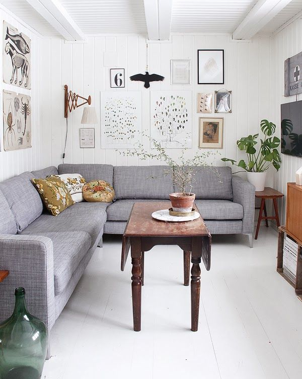 Another great grey/ gray corner sofa grey with touches of gold & terracotta