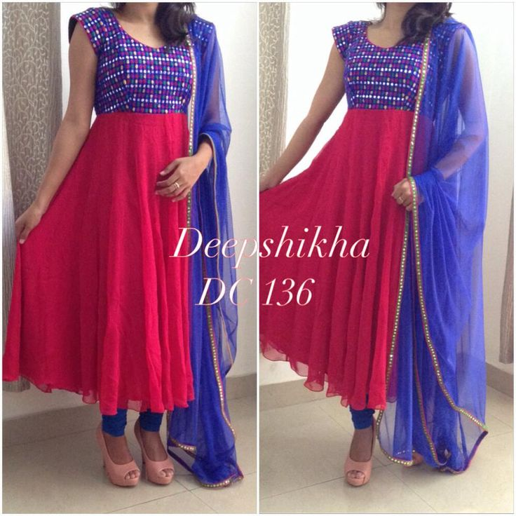 Mirror work blue and pink anarkali