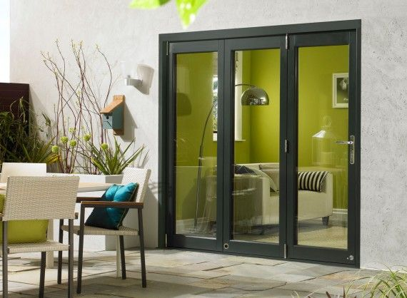 Ultra External Sliding Folding Doors in Grey Aluminium and Oak. Available in 1.8M (6ft), 2.1M (7ft), 2.4M (8ft) and 2.7M (9ft).