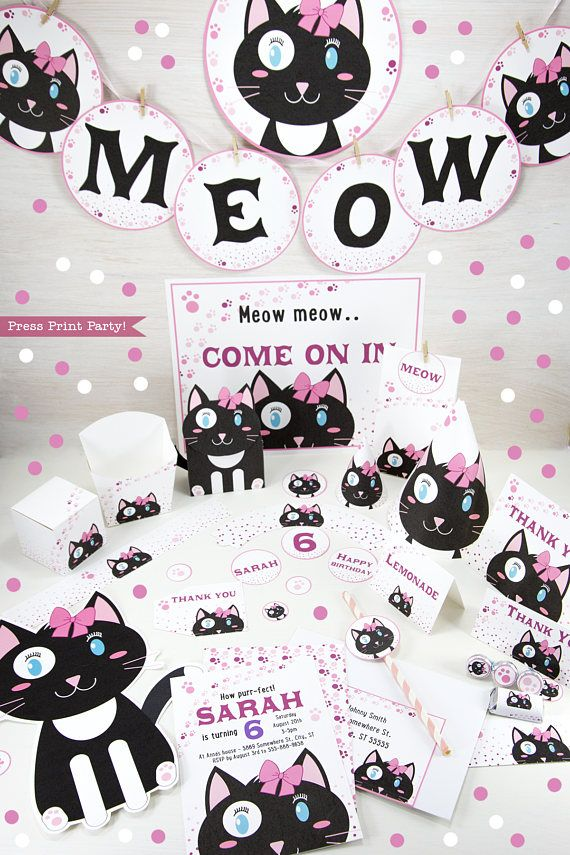 Delight Cat Lovers By Throwing A Party This Adorable Black And White Makes For Cheery Fun Theme Perfect Little Girls Birthday