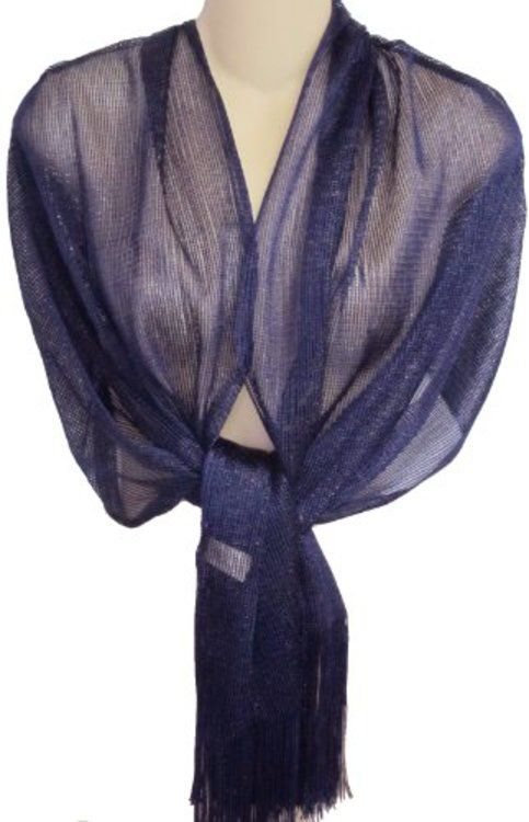 Sheer Navy Blue Fringed Evening Wrap Shawl For Prom
