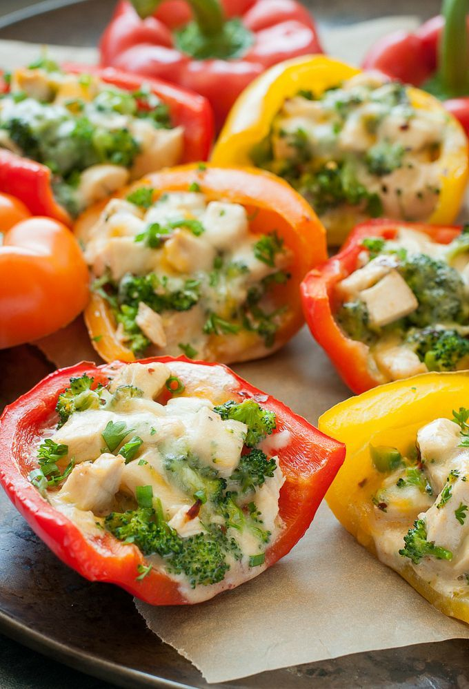 Cheesy Chicken and Broccoli Stuffed Peppers