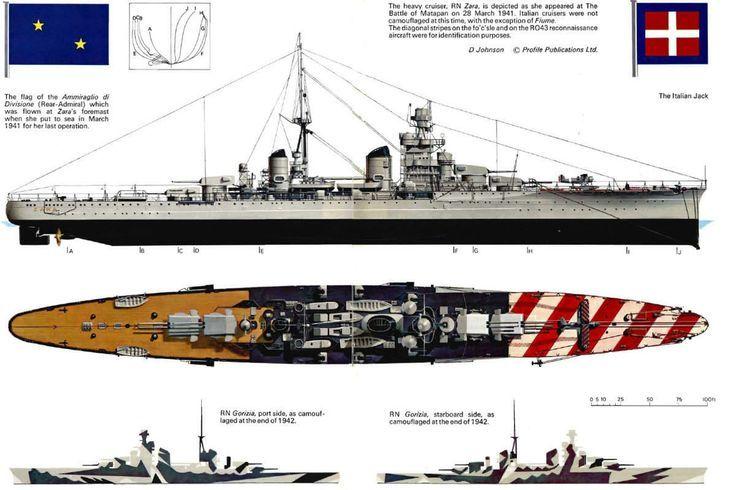 RMN Gorizia - incrociatore pesante ClasseZara - Completata23 dicembre 1931 - Caratteristiche generali Dislocamentostandard: 13.660 t pieno carico: 14.460 t Lunghezza182,8 m Larghezza20,6 m Pescaggio7,2 m Propulsione 8 caldaie 2 turbine Parsons 2 eliche Potenza:95.000 hp Velocità33 nodi  (circa 57 km/h) Autonomia5.434 mn a 16 nodi Equipaggio31 ufficiali ed 810 marinai - Affondato il 26 giugno 1944