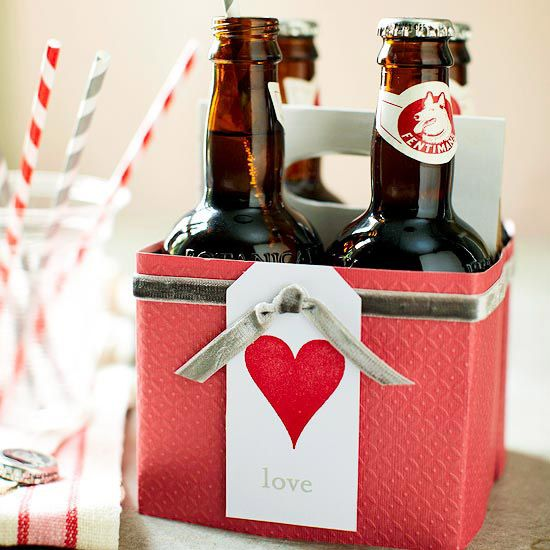 Cute Soda Case Wrap  Make a case of your valentine's favorite soda or beer even more special -- with a few simple touches. Wrap a piece of embossed red scrapbook paper around the cardboard case, securing with double-stick tape. Fold another piece of cardstock to cover the handle and cut out the opening. Embellish the package with a length of narrow velvet ribbon and a stamped tag.