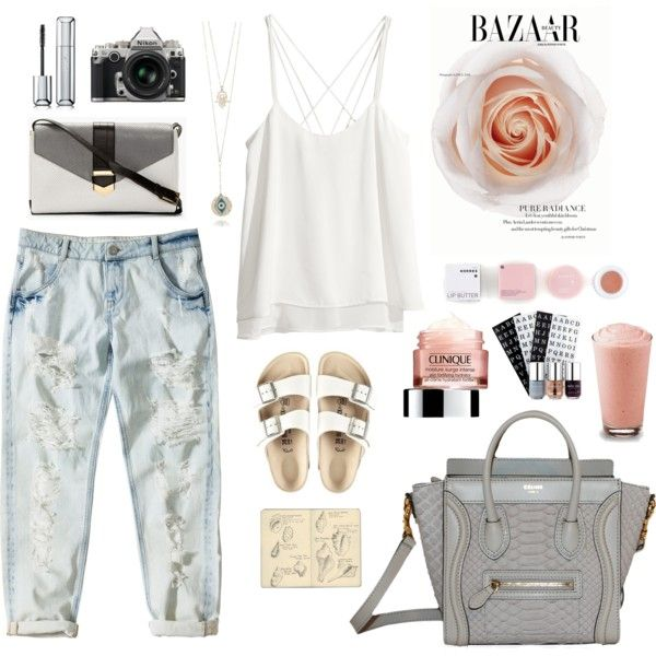 """3blacksheep9;lazysunday"" by blacksheep39 on Polyvore #white #ripped #satin #vitamins #birkenstock #inspiration"