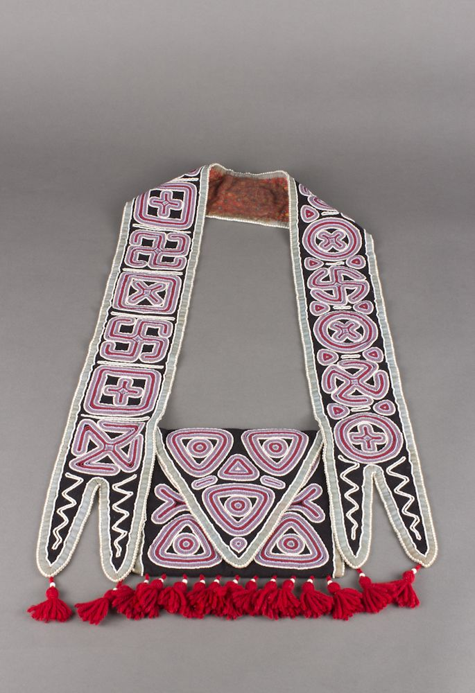 unknown Seminole artist (Seminole), Bandolier Bag, ca. 1880, glass beads on calico and yarn, The Elizabeth Cole Butler Collection, no known copyright restrictions, 2013.38.48
