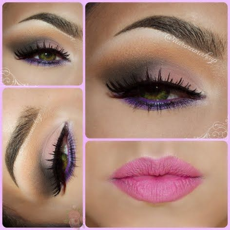 Though soft and subdued, this full face look doesn't shy away from color. The smokey purple eyes and pink lips make a stunning look for day or night.