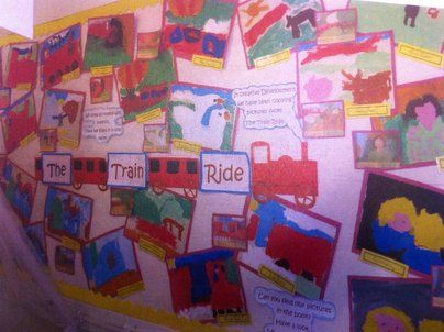 The Train Ride Display, classroom display, class display, Story,  reading, train ride, red train, transport,Early Years (EYFS), KS1 & KS2 Primary Resources