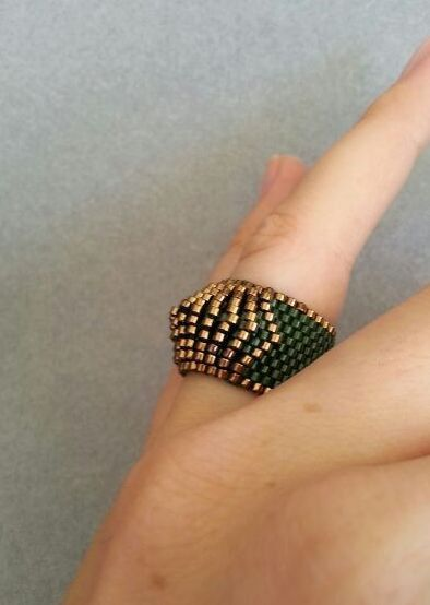 Green Bronze Ring Band Peyote Ring Beaded Ring Handmade by ByElir