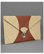 Large envelope clutch with two-colors color blocking detail. Metal clamp closure.