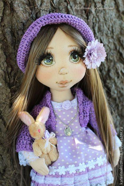 Лизонька, сестричка Полины - сиреневый,авторская ручная работа,кукла ручной работы