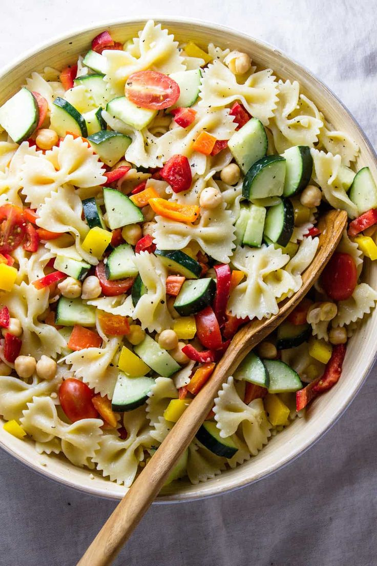 Quick and Healthy Chickpea Vegetable Pasta Salad is perfect for potlucks, picnic…