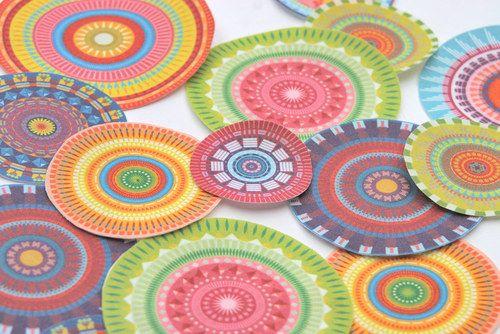 Mandala - 9 ks-nažehlovací textilní obrázky