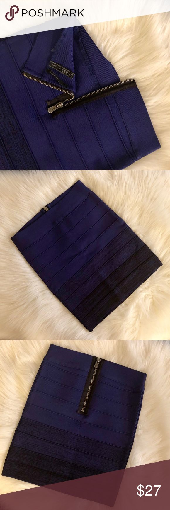 GUESS Bodycon Bandage Mini Skirt GUESS Los Angeles Bodycon Bandage Mini Skirt in gradient purple, Size: Small  Brand new skirt, excellent condition (never worn, never washed, etc.). Dimensions are as pictured. I wish I could still fit in it! 😂🙈 Guess Skirts Mini