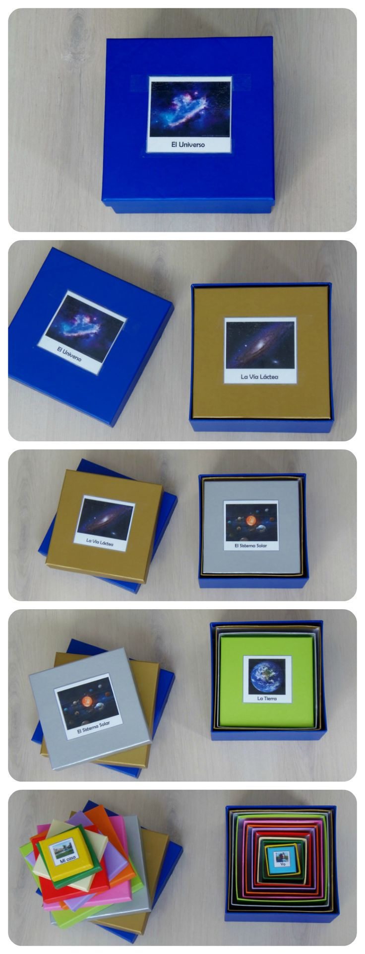 Montessori Universe nesting boxes with printables (scroll down for English - Montessori en Casa)