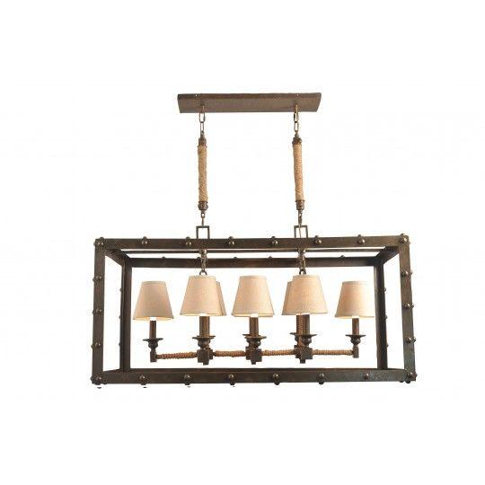 Iron Frame Chanedelier With Vintage Rope, By CDI Furniture