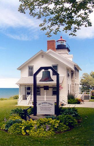 Sodus Point lighthouse, NY. Six miles long and three miles wide, Sodus Bay is the largest natural harbor on Lake Ontario.  1792