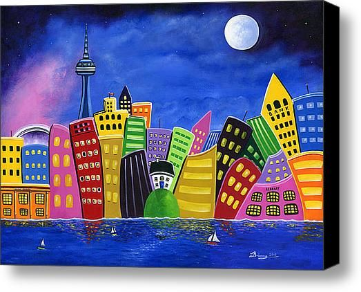 """Limited Time Promotion 30"""" x 40"""" Canvas Print Hilly Meets High-Rise Harbour $210.00 until March 3rd, 2014 My whimsical folk art Canadian landscape featuring the city of Toronto at night with crooked buildings, the CN Tower, Roger's Centre Skydome, and many other skyscrapers overwhelming the little country home sitting atop a hill overlooking the sailboats in the harbour."""
