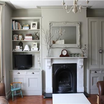 Living room in Hardwick White.  Farrow & Ball