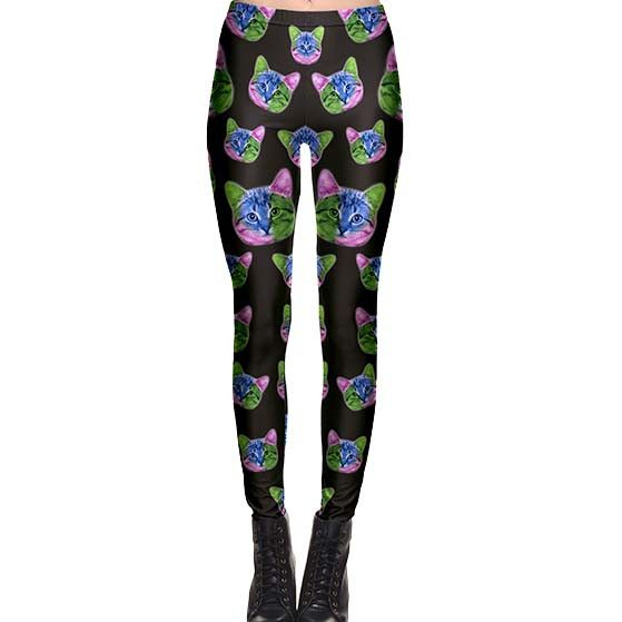 Psychedelic Kitty Cat All Over Print Legging Pants in Black