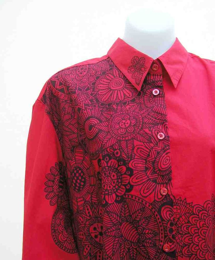Red plus size shirt, red plus size blouse, au 28 UK 26 US 24, hand painted blouse, art to wear, wearable art, upcycled, OOAK, one of a kind by Rethreading on Etsy